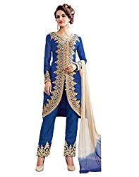 Look N Buy Women's Royal Blue Semi-Stitched Dress Material (322D3071_Royal Blue_Free size)