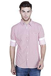 Showoff Men's Full Sleeves Slim fit Red Printed Casual Shirt