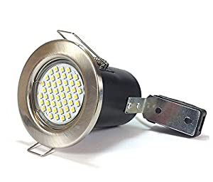 10 x Brushed Chrome Fire Rated Downlights with 4 Watt GU10 LED Bulbs / Spotlights in Warm White, Complete Energy Saving LED Downlighters / Ceiling Lights (Includes GU10 4W LED Bulbs with 48 x 3528 SMD Chips in Warm White, 3000k) from Discount LEDs