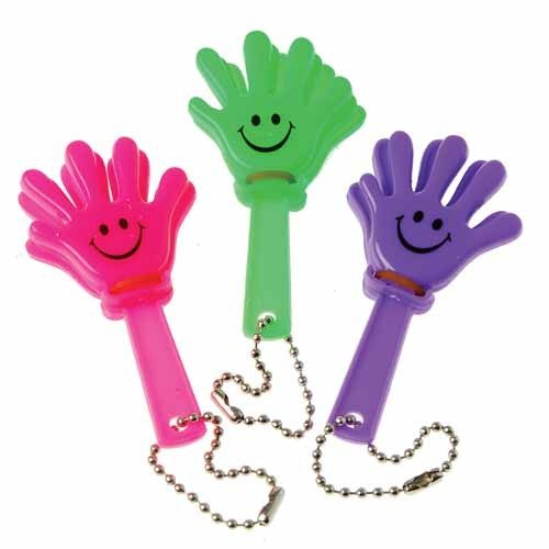Lot Of 12 Assorted Color Hand Clapper Noise Maker Key Chains