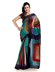 Designersareez Women Bhagalpuri Silk Printed Multicolor Saree With Unstitched Blouse(1121)