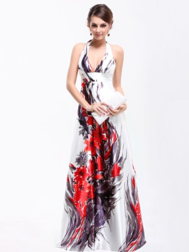 Ever Pretty Empire Waist Padded Floral Print Sexy Plunge V-neck Prom Dress 09614