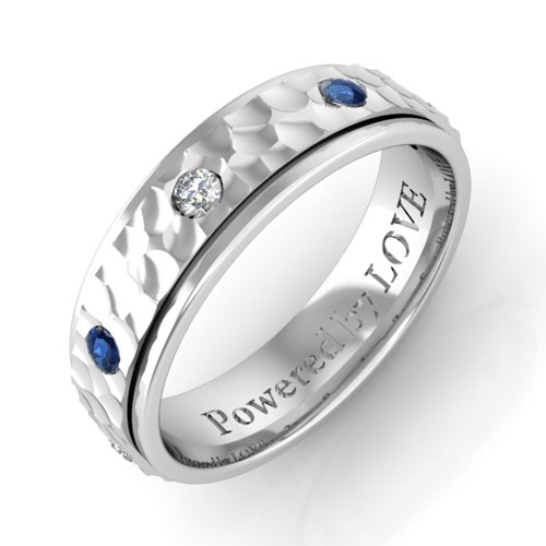 Engraved Mens Sapphire Diamond Wedding Band Hammered Finish Comfort Fit In