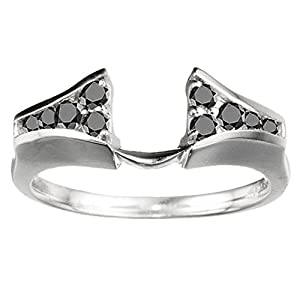 0.35 CT Black Diamonds Chevron Style Ring Wrap in Sterling Silver