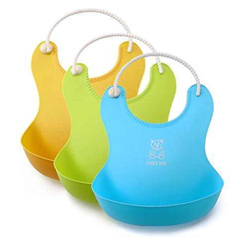 lizber-waterproof-baby-bibs-food-catcher-3-pcs-blue-yellow-green-roll-up-deep-pocket-soft-adjustable