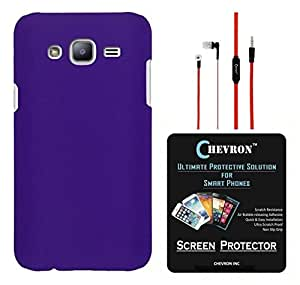 Chevron Rubberized Matte Back Cover Case for Samsung Galaxy On5 with HD Screen Guard & Chevron 3.5mm Stereo Red Earphones (Purple)