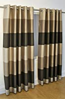 "Brazil Brown Beige Cream Striped Faux Silk Lined Ring Top 46"" X 90"" Curtains #oir by PCJ SUPPLIES"