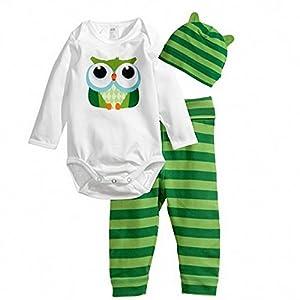 Tonsee 2015 neue Zeichensätze für Kleidung Baby Junge Mode Stil 3st (Langarm-Strampler + Hut + Hose) baby-jungen Kleidung (80, grün)
