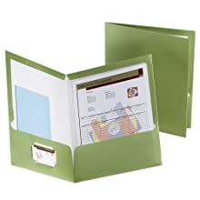 Oxford 5049560 Metallic Two-Pocket Folders, Green, 25/Box
