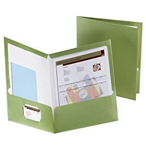 Oxford 5049560 Metallic Two-Pocket Folders, Green, 25/Box