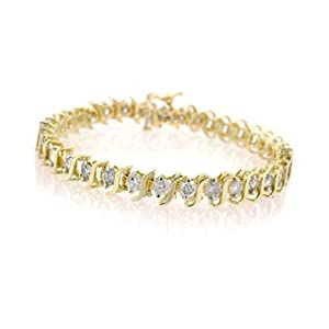 10K Yellow Gold Diamond S-Link Tennis Bracelet (2 cttw, J-K Color, I2-I3 Clarity) - 7