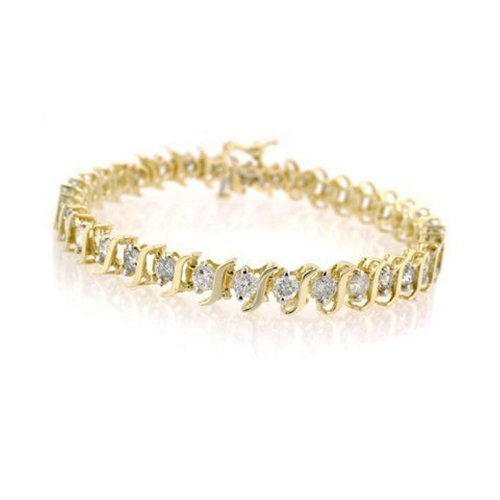 14K Yellow Gold Diamond S-Link Tennis Bracelet