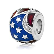 Sterling Silver USA Flag Charm with E…