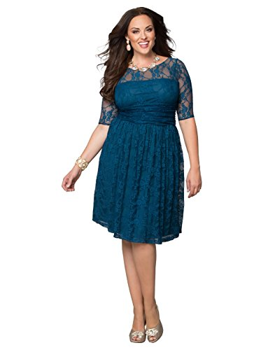 Kiyonna Women's Plus Size Luna Lace Dress 2x Crazy About Blue