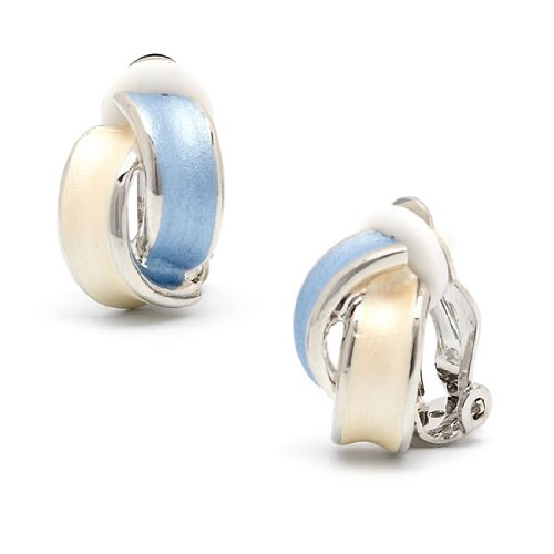 Rodney Holman Rhodium Blue and Ivory Bow Clip On Earrings