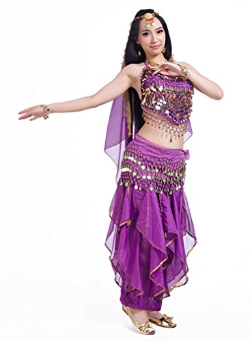 Dreamspell Professional Purple Belly Dance Costume Coins Stage Performance