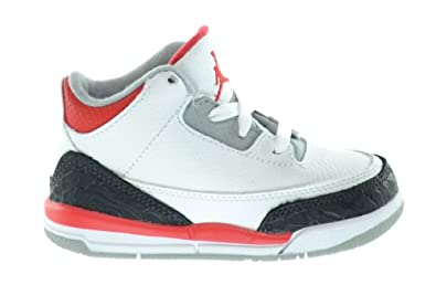 Buy Jordan 3 Retro (TD) Baby Toddlers Basketball Shoes White Fire Red-Silver-Black by Jordan