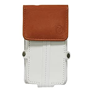 Jo Jo A6 Nillofer Series Leather Pouch Holster Case For LG L70 D320N White Orange