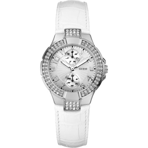Guess Ladies Watch Mini Prism With Encrusted Stones And White Leather Strap W116071