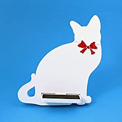 Cat Cell Phone Holder Wood Stand, White