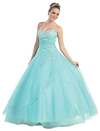 Ball Gown Formal Prom Wedding Dress #586 (4, Aqua)