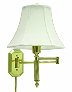 House Of Troy WS-706 16-1/2-Inch Swing Arm Wall Lamp, Polished Brass with Off-White Softback Shade