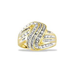 Womens Solid 10k Gold .50ct Round Baguette Diamond Ring