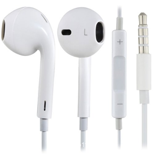 Earphone Earpod With Mic + Volume Control For Iphone 5 4 4S White