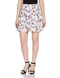 Femella Women's A-Line Skirt (DS-700768/526/WHT/M_White_M)