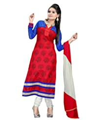 Alethia Red Color Casual Wear Embroidered Cotton Semi-Stitched Salwar Suit