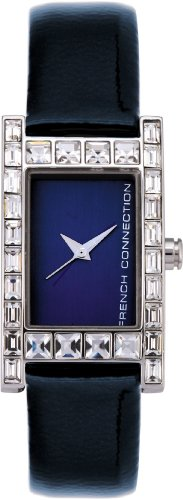 French Connection FC1021U Ladies Blue 3 hand Dial, Stone Set Case, Blue Leather Strap
