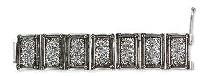Sterling silver wristband bracelet, 'Serene Blossom'