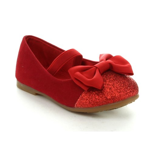 Jelly Beans Birona Toddler'S Girls Fashion Slip On Bow Ballet Flats Dress Shoes, Color:Red, Size:8