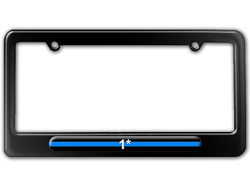 Thin Blue Line 1 One Asterisk - Police License Plate Tag Frame (License Plate Police Frame compare prices)