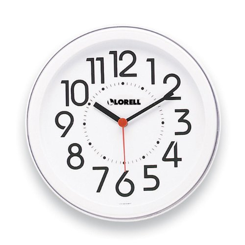 Lorell 60985 Wall Clock, 9 in., Arabic Numerals, White Dial/White Frame