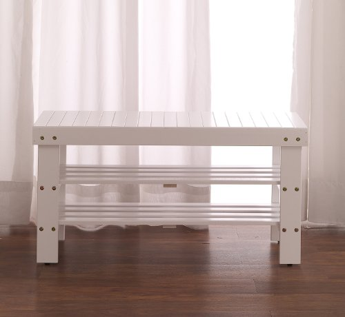 Roundhill Furniture Pina Quality Solid Wood Shoe Bench, White Finish