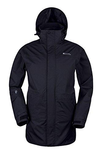 Mountain Warehouse Glacier Extreme Herren lange wasserdichte atmungsaktive Jacke mit Kapuze Anorak Regenmantel