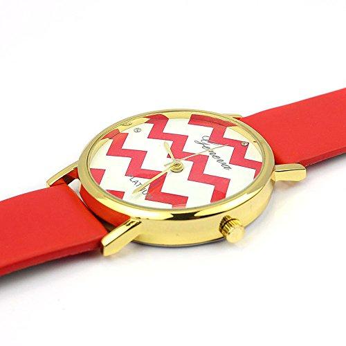 Zps(Tm) Moire Watch Pu Leather Quartz Wrist Watches(Red)