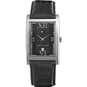 Tommy Hilfiger Men's 1710175 Black Leather Strap Watch