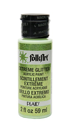 FolkArt Extreme Glitter Acrylic Paint in Assorted Colors (2-Ounce), 2769 Neon Green