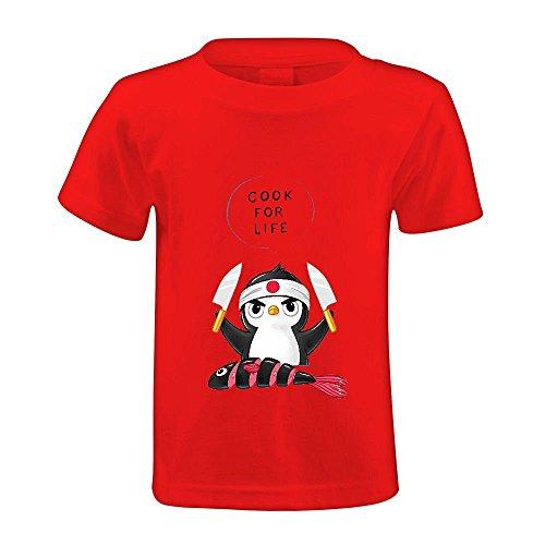 Snowl Penguin Chef Child Crew Neck Print T Shirt Red (Penguin Classics Cloth compare prices)