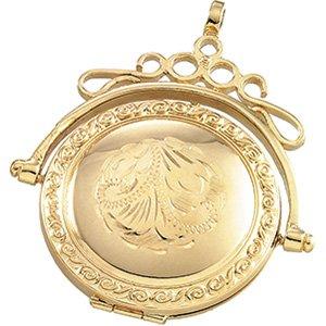 14k Yellow Gold Round Swivel Locket 34.5x28mm - JewelryWeb