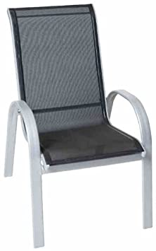 Sessel 2-er Set Amalfi in schwarz aus Alumium mit Textilgewebe