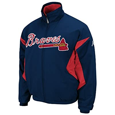 MLB Atlanta Braves Long Sleeve Lightweight Full Zip Thermabase Premier Jacket, Navy/Red