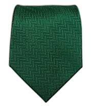 100% Silk Woven Solid Herringbone Hunter Green Tie