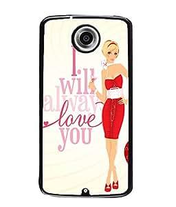 Fuson Red Dress Girl Back Case Cover for MOTOROLA GOOGLE NEXUS 6 - D4047