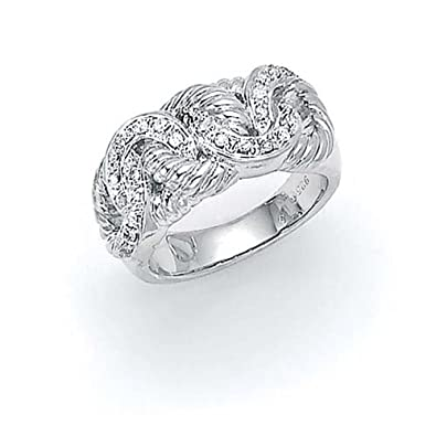 Sterling Silver Rough Diamond Cable Knot Ring - Size N 1/2