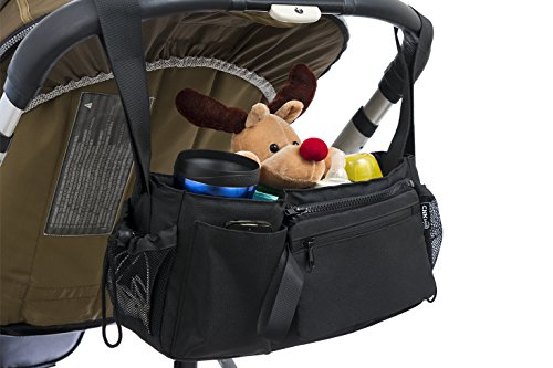 Stroller Organizer Bag With Adjustable Velcro Straps, Universal Fit, Cup Holders, Extra Storage Space, Customizable Compartments, With Bonus Stroller Hook