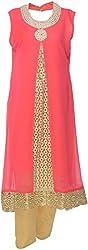 Urban Kings Women's Crepe Net Salwar Suit (PINK-011_L, Pink, L)