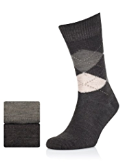 2 Pairs of Wool Blend Argyle Socks